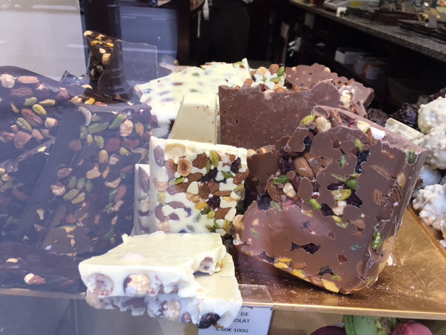 food | tempting delights from a chocolaterie window showing texture and complimentary colours