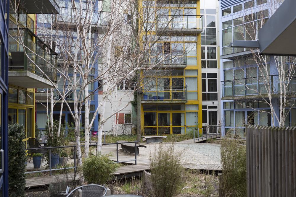 Many buildings wrap around semi-public courtyards.