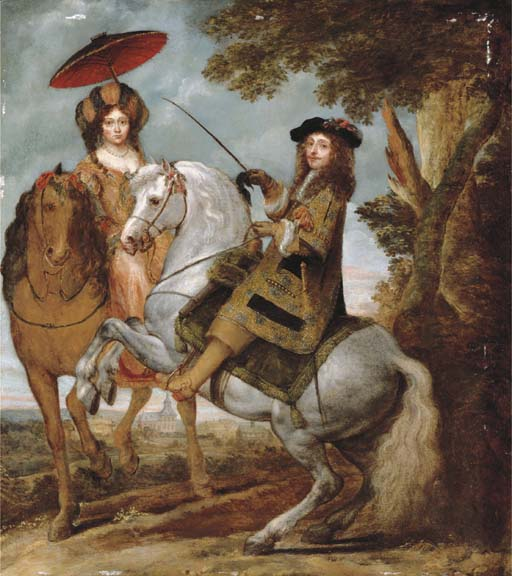 An Equestrian Portrait of an Elegant Gentleman and Lady in a Wooded Landscape, by Gonzales Coques, late 1600s.