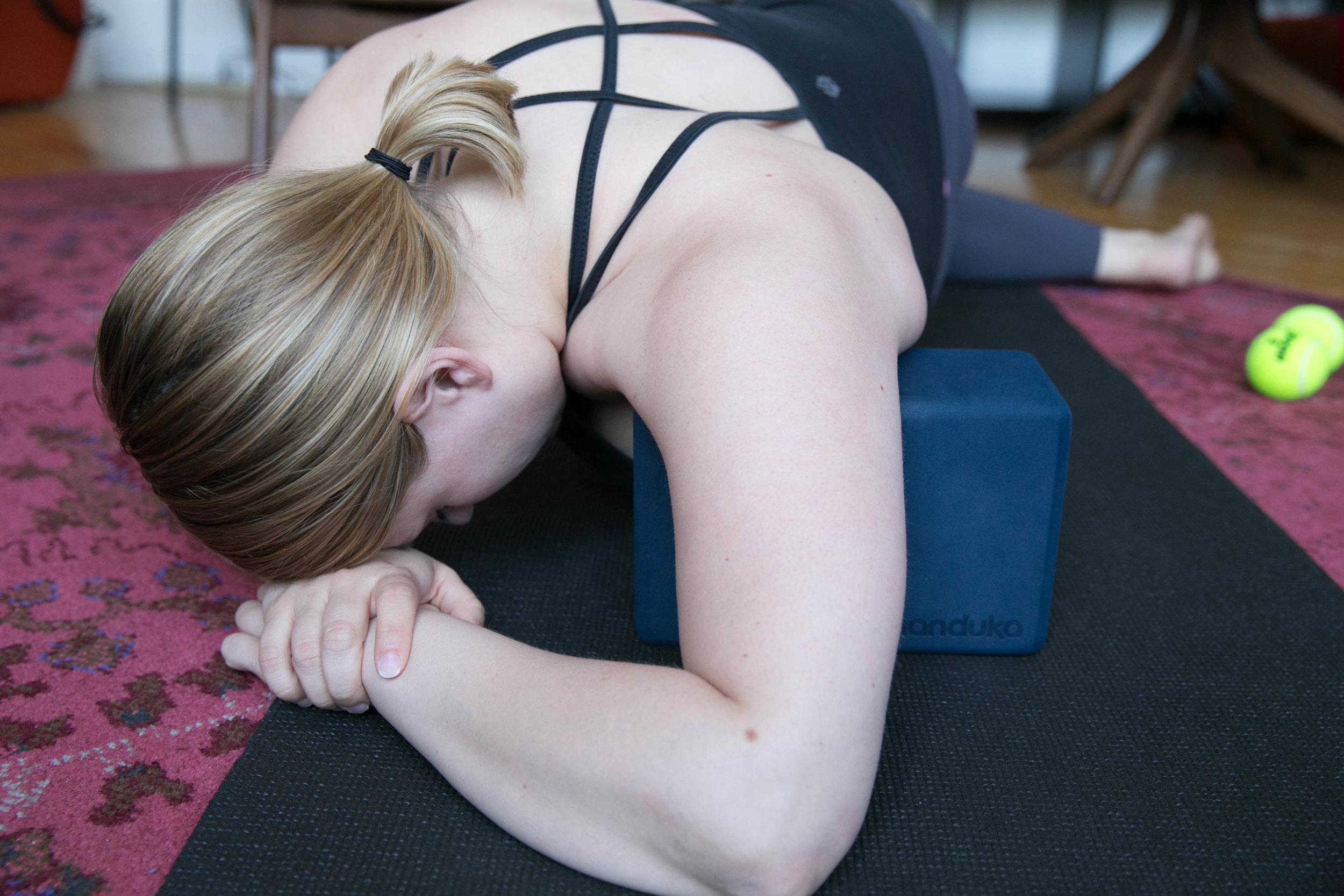 3. - Roll forward to release tension through the front of the shoulder (pecs). Breath deeply throughout and let the tension go on your exhale.