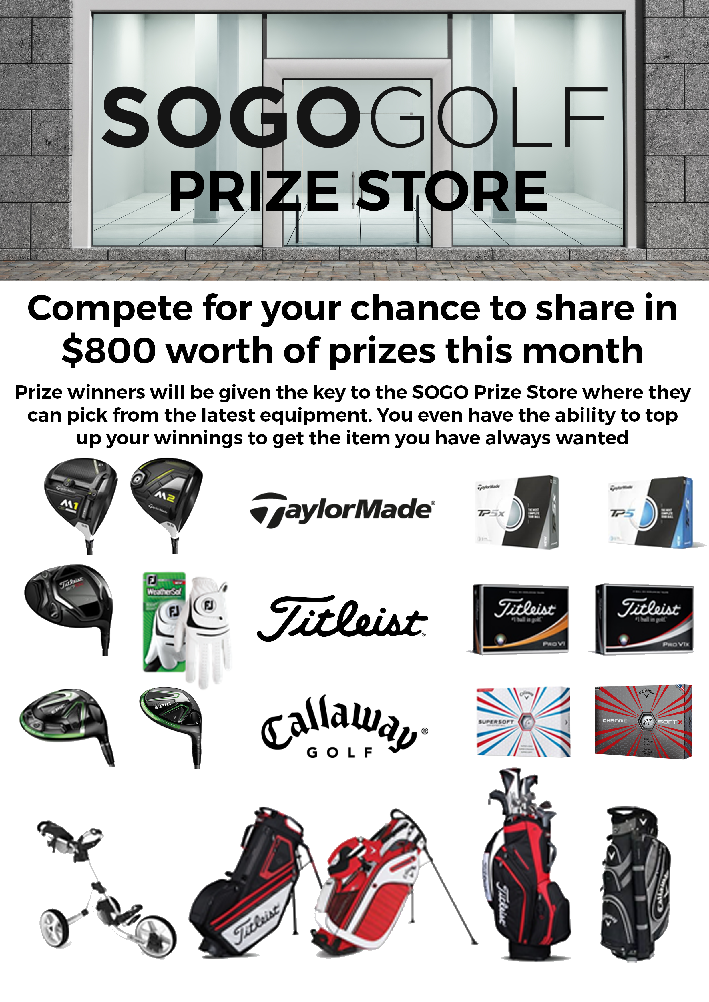 Select your own competition prize with SOGO Golf