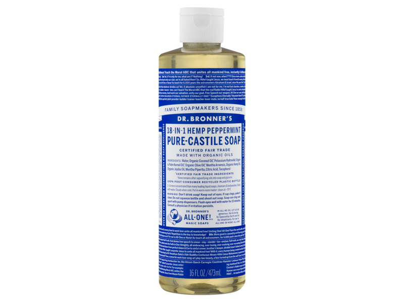 18.)Dr Bronners Soap - A great all purpose natural Castille soap. You need very minimal product to get a good lather and it works great to clean clothes, dishes and even yourself. The best part is that the solution is natural, so it's not harmful for the environment. We choose peppermint as it is the most versatile for most purposes.