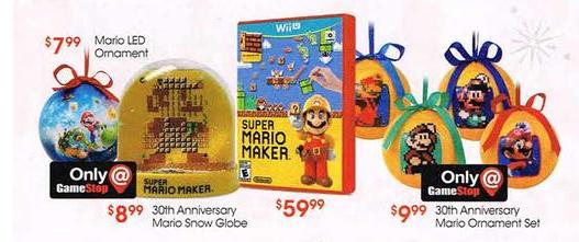 Super Mario Maker Snow globe and ornaments