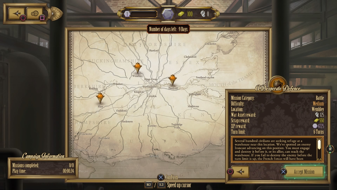 Every thematic detail of Ironcast has been taken into consideration, including the menus.