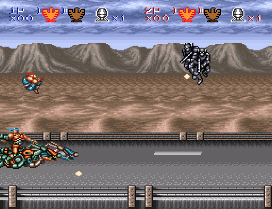 Who doesn't want to ride a futuristic motorcycle and shoot robots while you jump off of it?