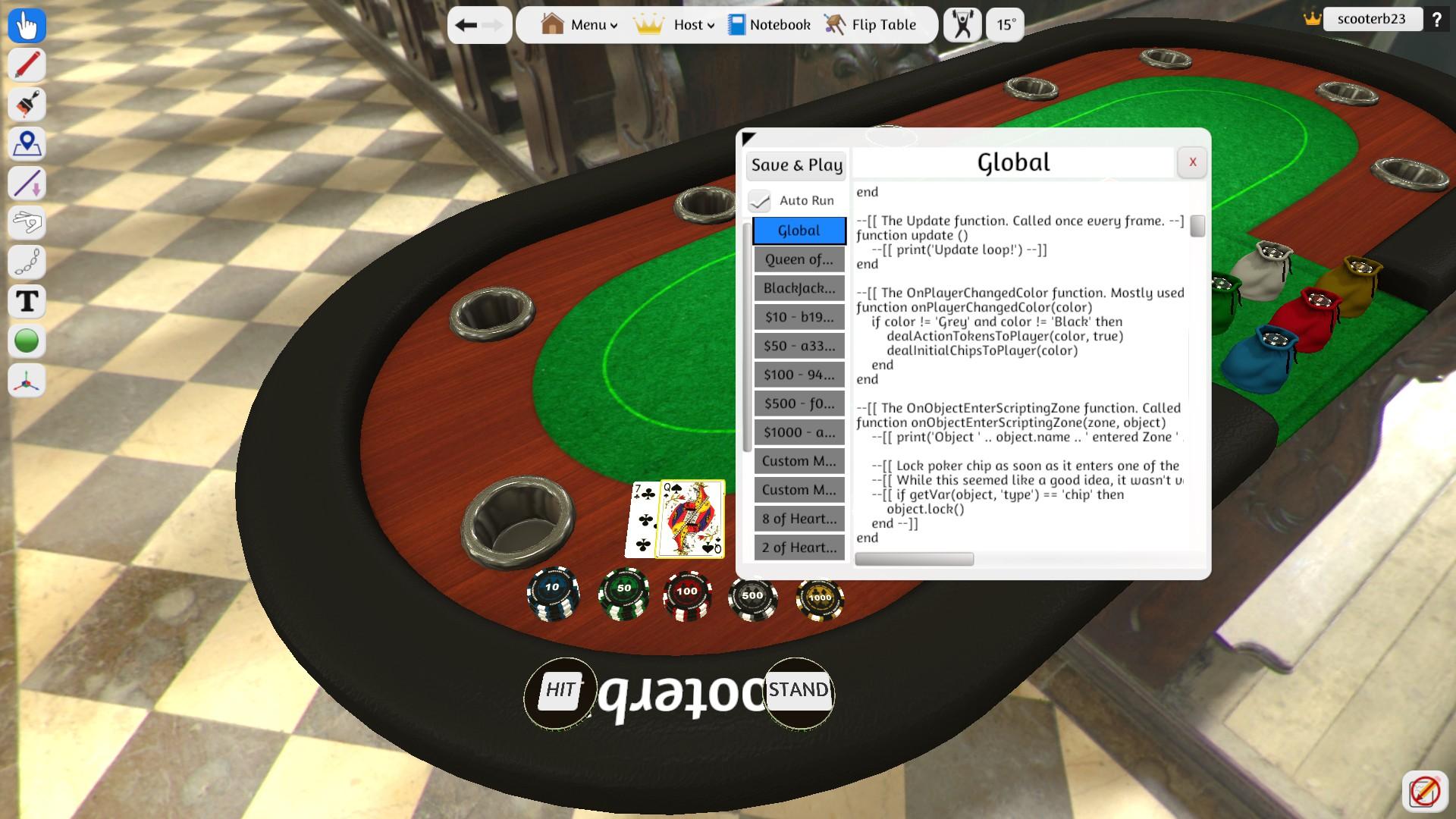 Blackjack with Scripting Window open