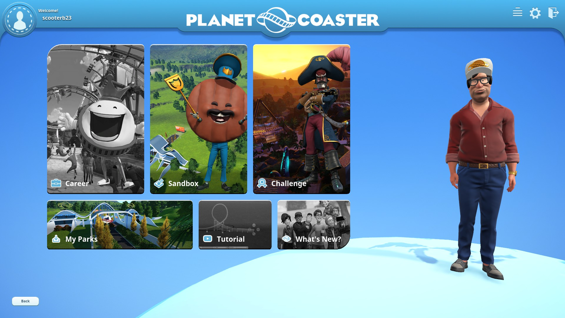 The menu screen with my personal avatar.