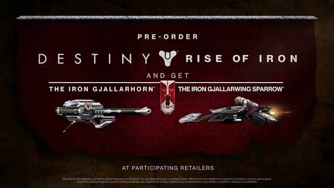 The Iron Gjallarhorn Rocket Launcher and iron gjallarwing Sparrow were our rewards for preordering the rise of Iron expansion.