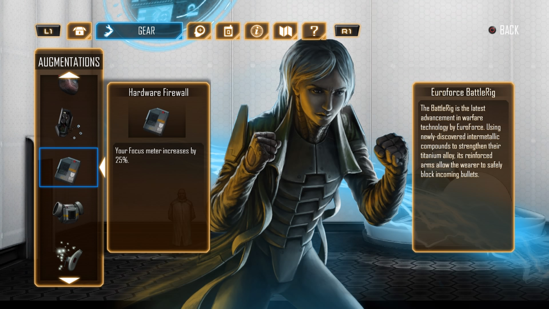 Gear augmentations help the player to specialize among various areas