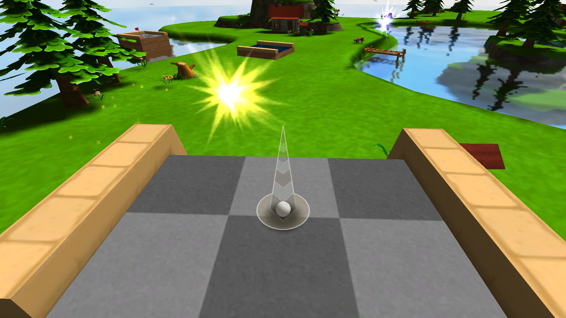 From the Jinxed course: the Orange portal moves, the trampoline blinks, and if you don't hit the exact right speed your ball will miss the hole...and they thought this was fun?