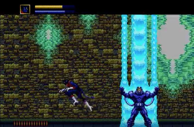 Nightcrawler running from the mighty Apocalypse in X-Men.