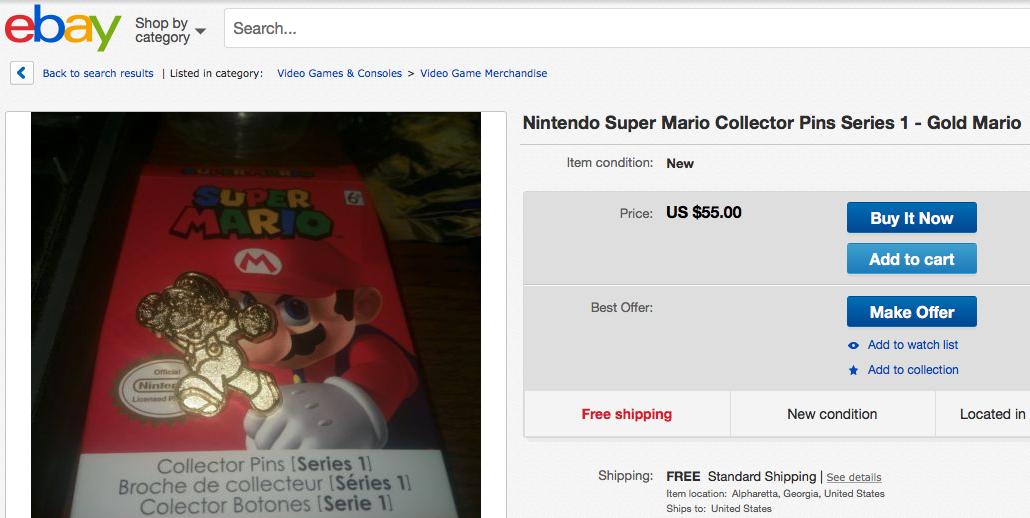 A rare Gold Mario Pin on eBay.