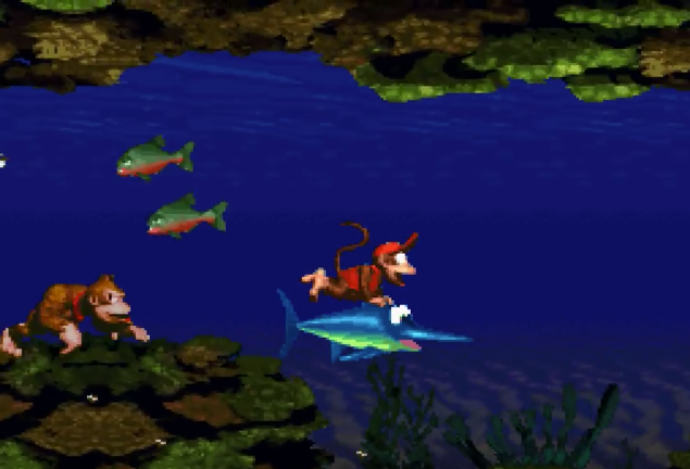 Donkey and Diddy Kong could seek out helper friends like Enguarde the Swordfish for special abilities.