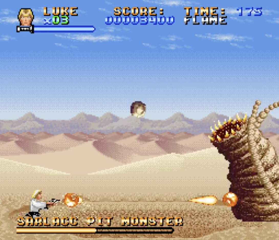 The bosses were massive, thanks to the graphical capabilities of the SNES.