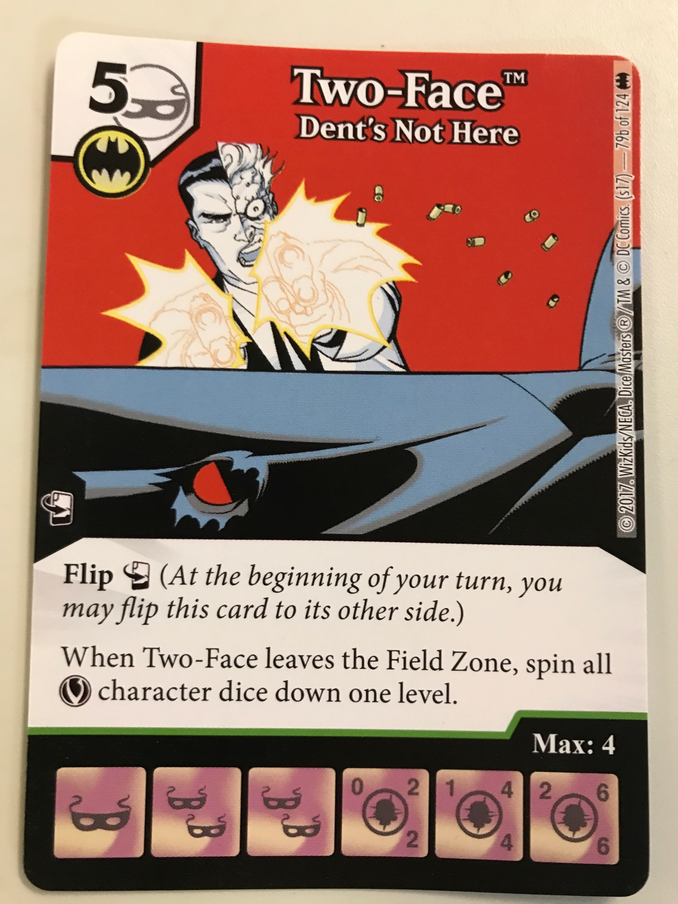 Two-sided cards can have two different affiliations, shown here is the Batman Affiliation.