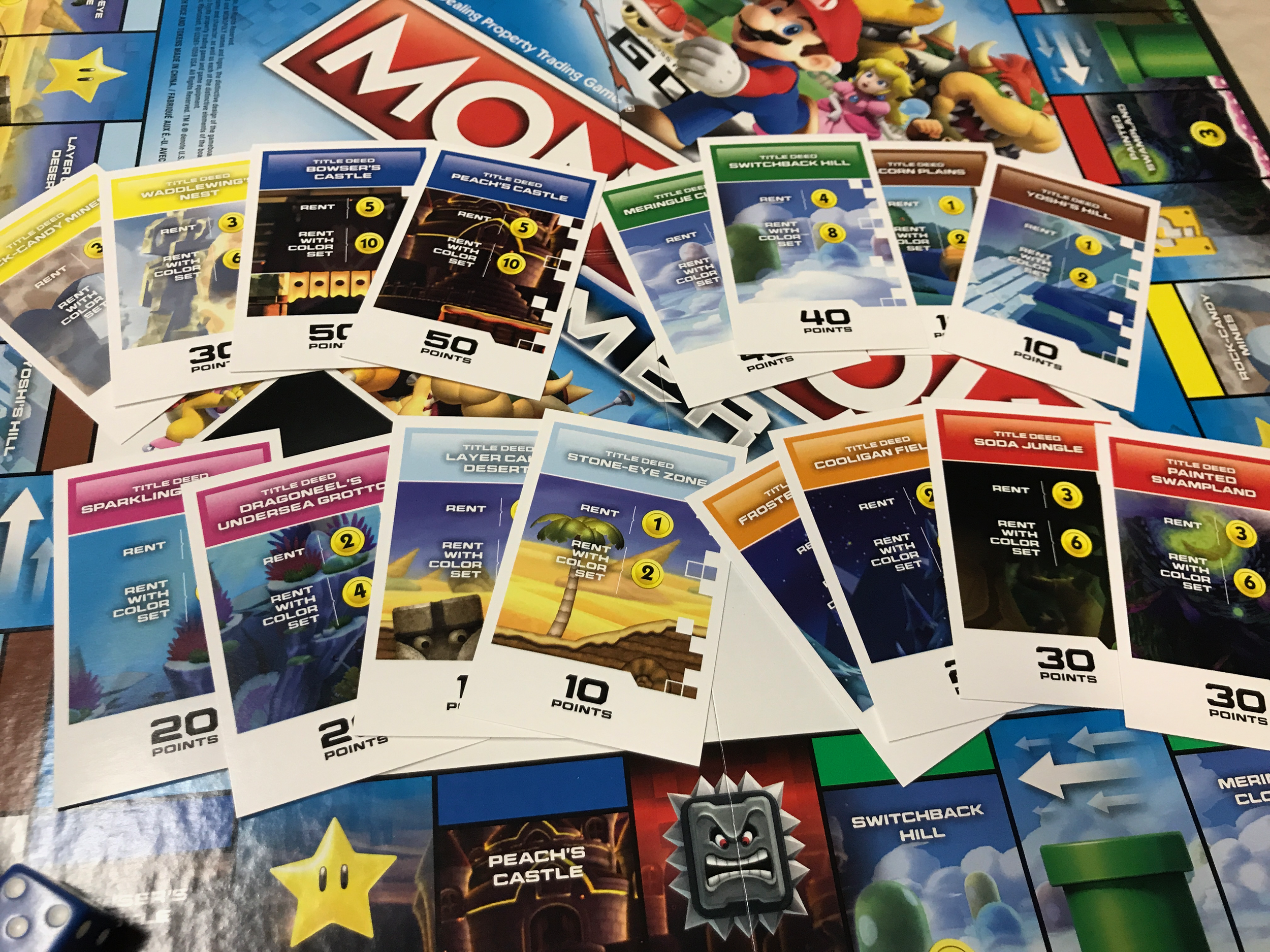 Various cards showing the properties based on real Super Mario Bros. levels.