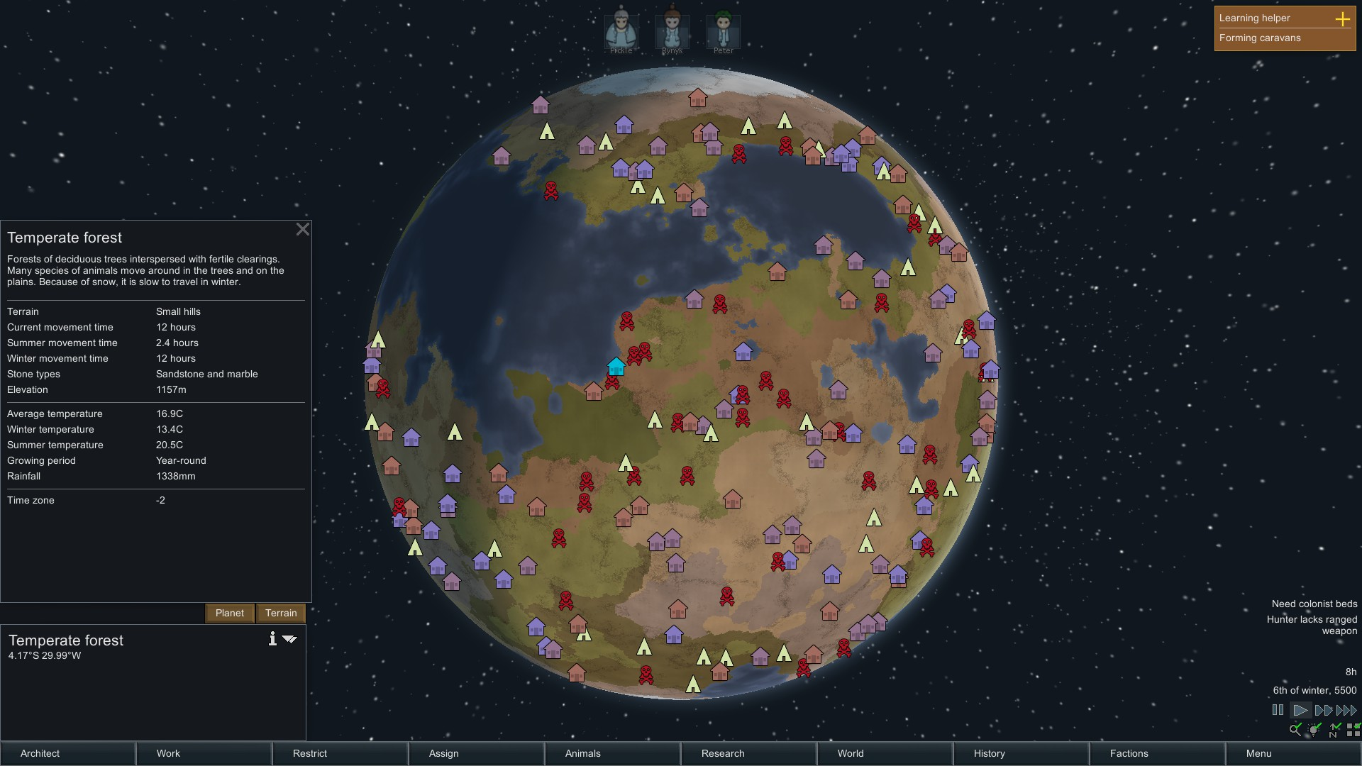 RimWorld designs an entire world, generating terrain, climate, and more.