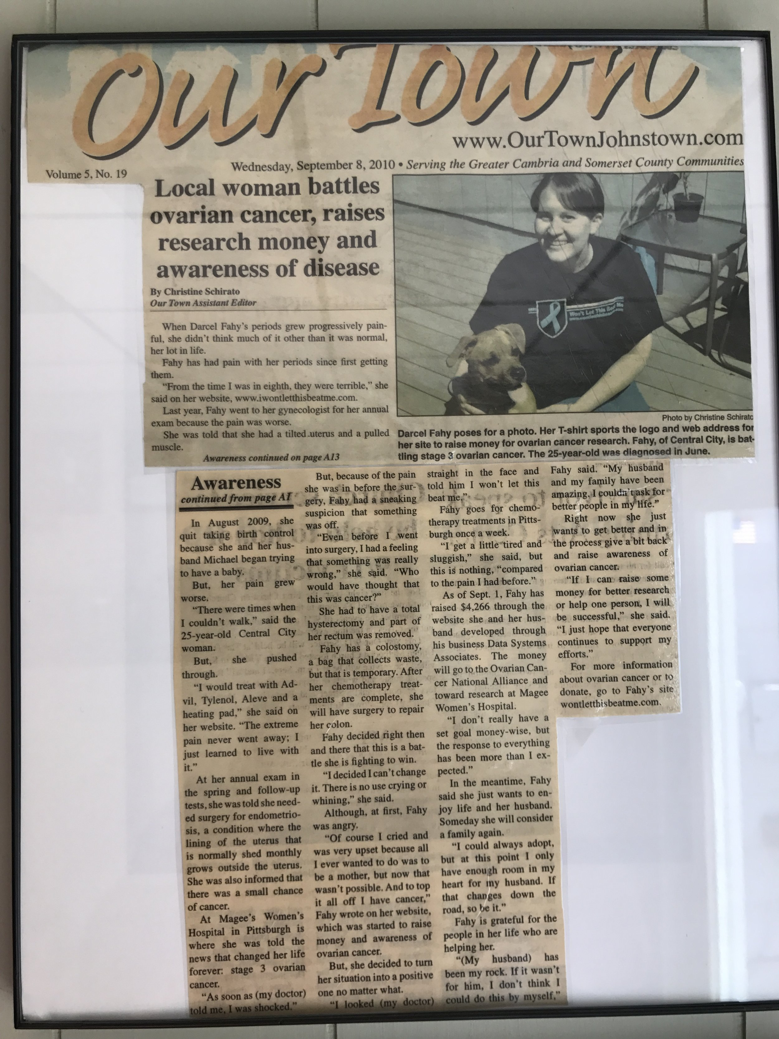 Articles like these decorate the walls of the residence of Darcel's parents.