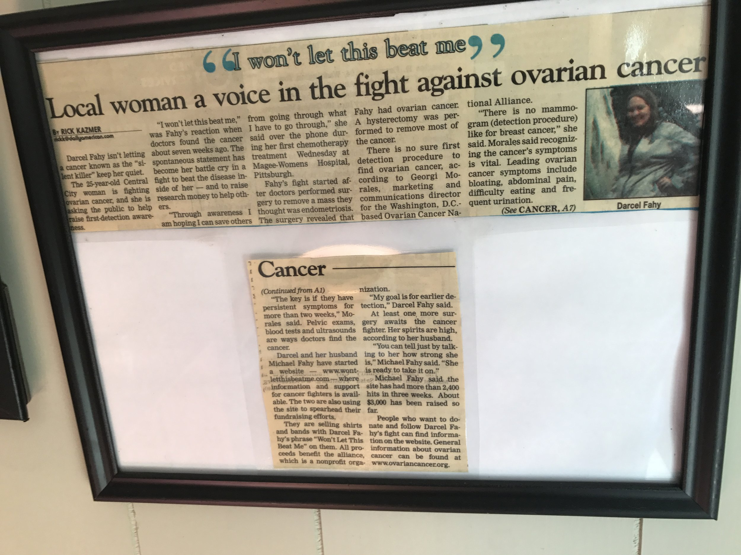 An article showing Darcel's motto and advocacy for awareness and defeat of ovarian cancer.