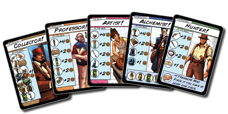 Your randomly selected character has bonuses for certain treasures. Aim to acquire those for maximum profit.