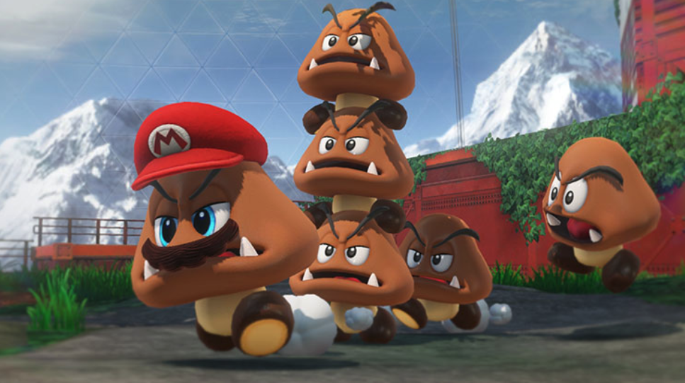 Reach new heights by stacking Goombas on top of each other.