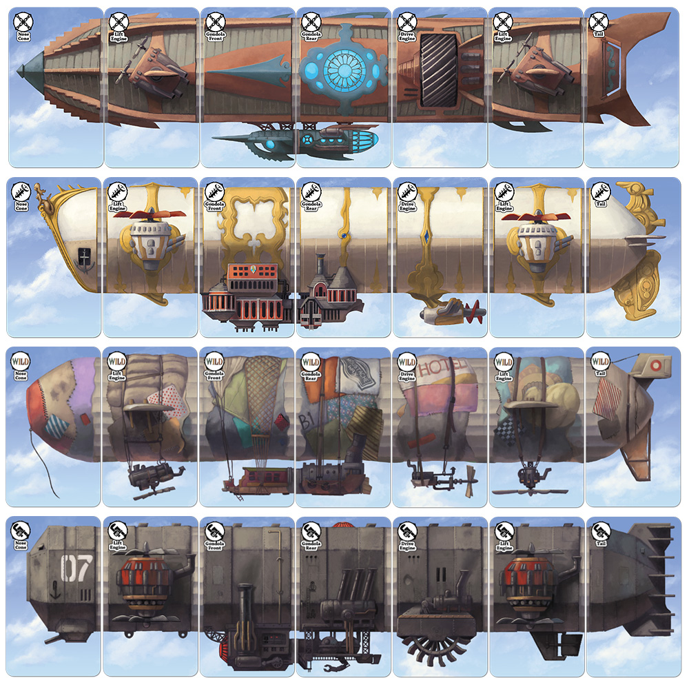Various airship cards that must be put together.