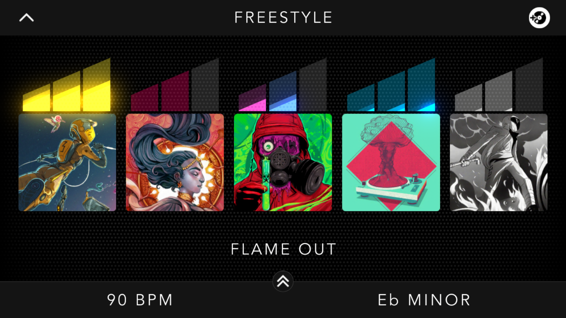 A close up of the app in Freestyle Mode.