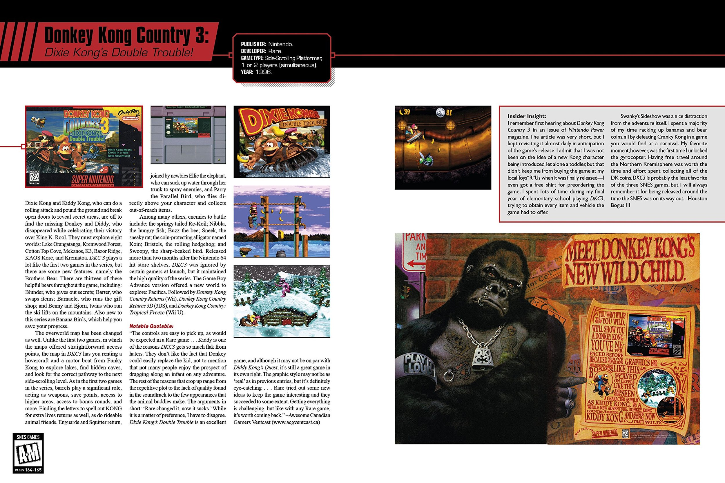 Each entry features information about the title, screenshots, box art, cartridge, and advertisements (if any).