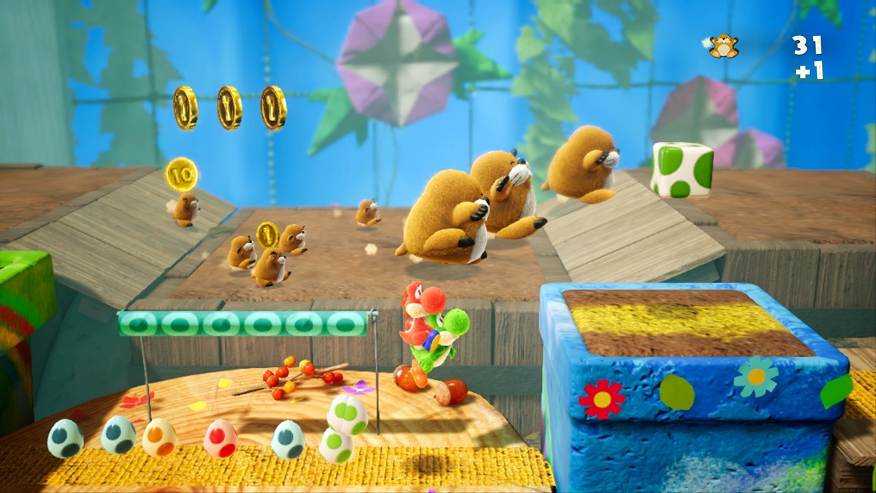 Two people can work together in Yoshi's Crafted World