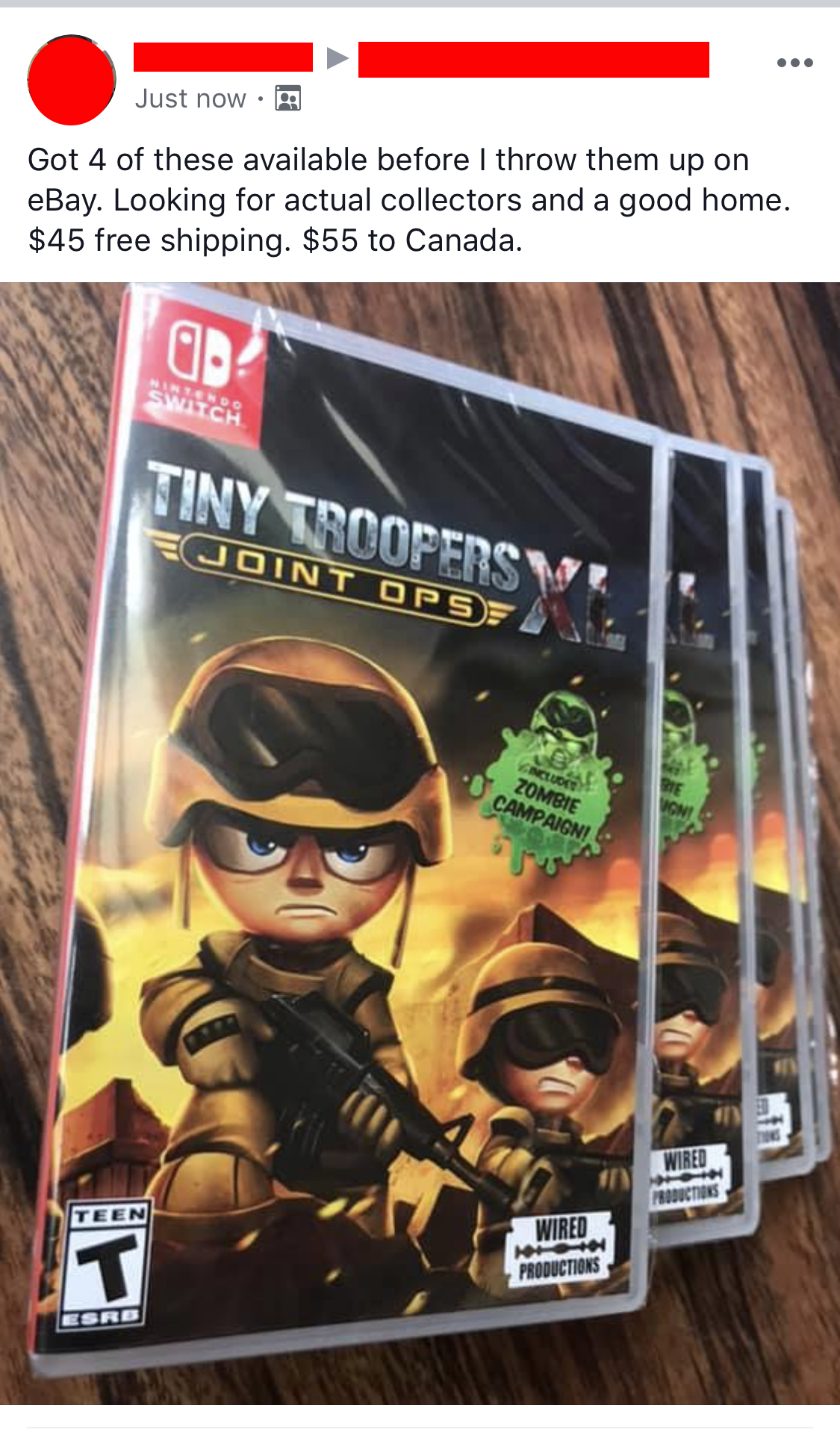 Someone who has bought four copies of Tiny Troopers: Joint Ops XL for Nintendo Switch and is trying to double their money on a video game collecting Facebook group.