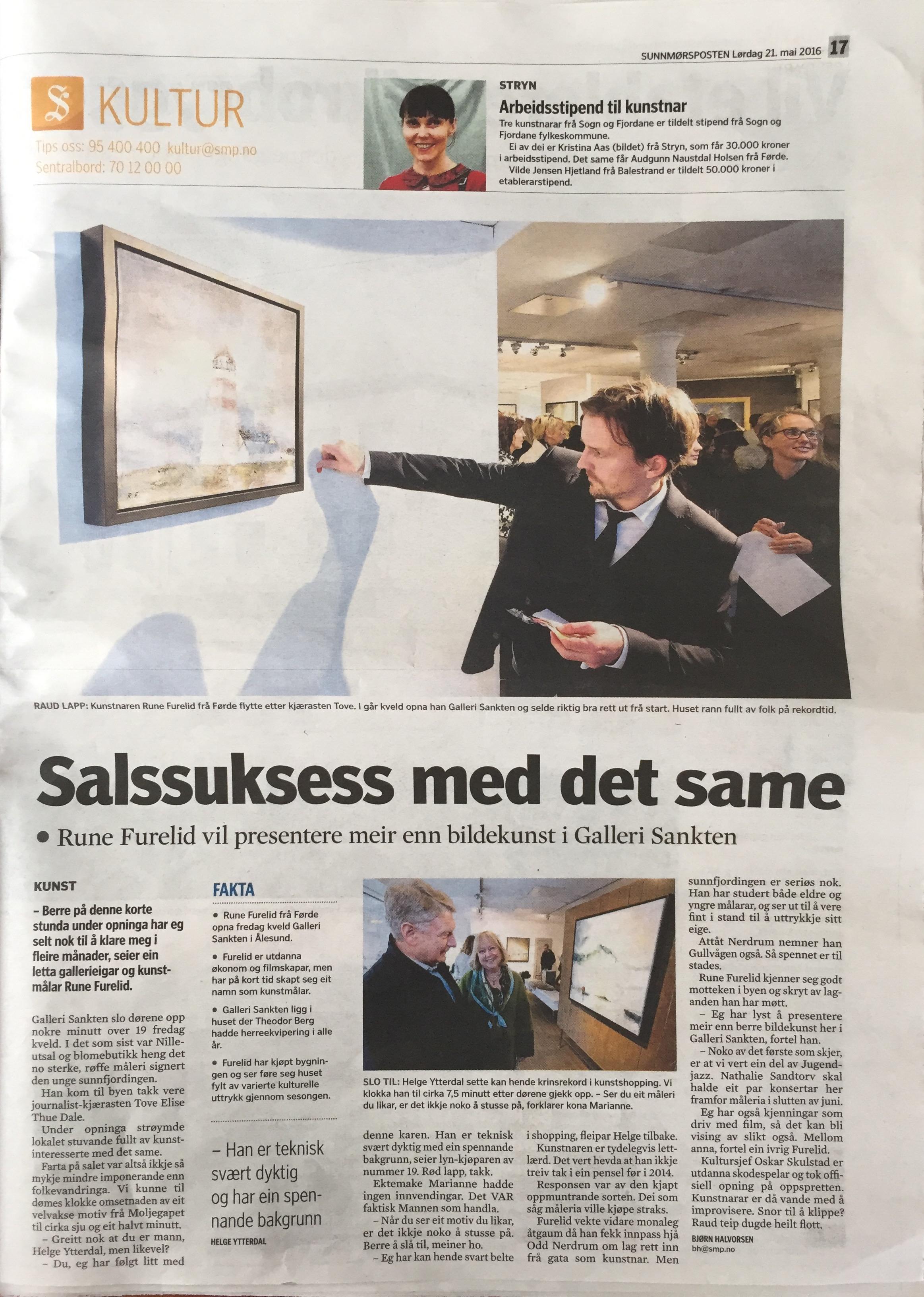 Førstesideoppslag kulturseksjonen Sunnmørsposten 21.05.16.