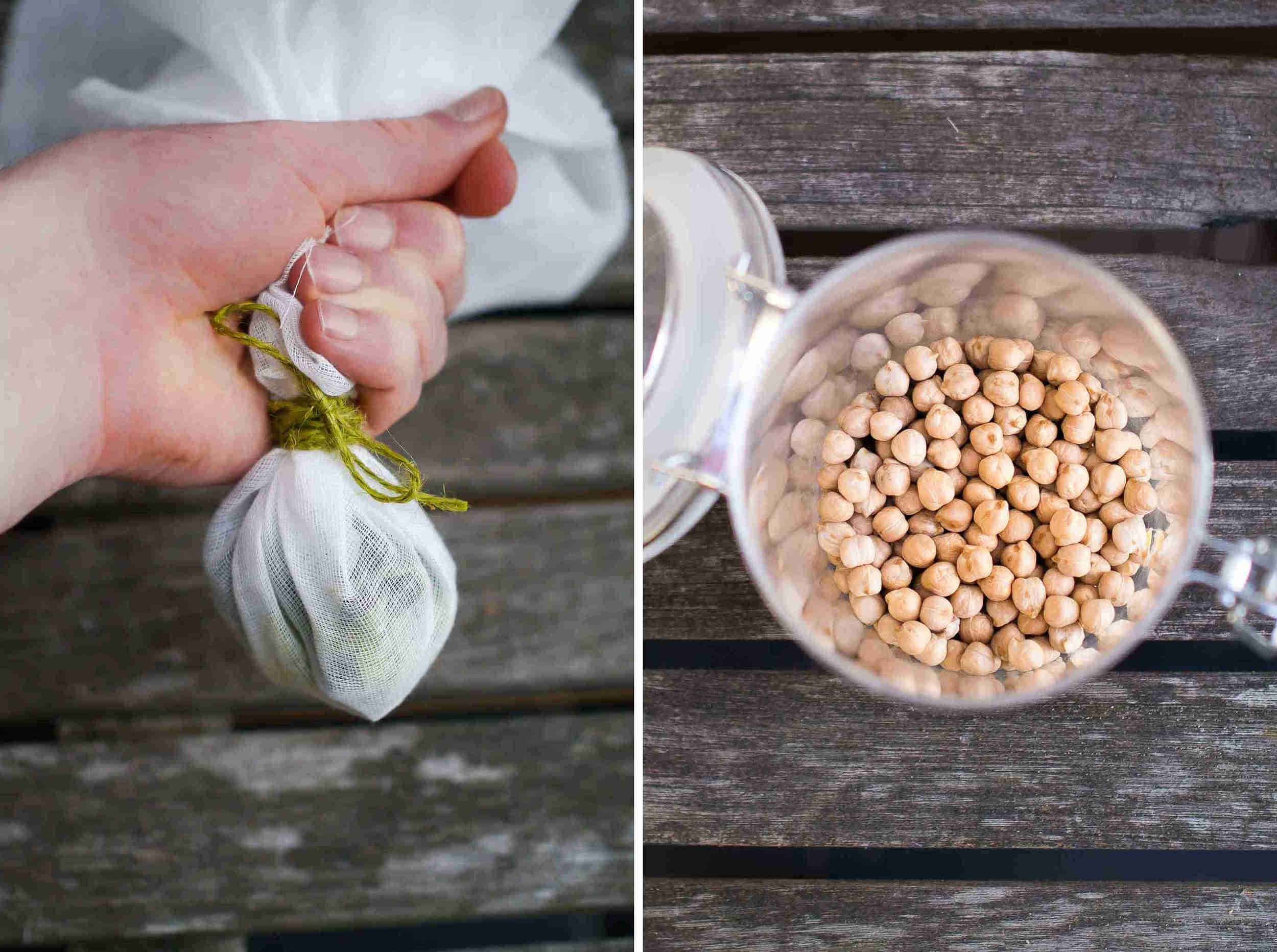 Bouquet of herbs and spices next to chickpeas | Student Chickpea Soup | DiscoverDelicious