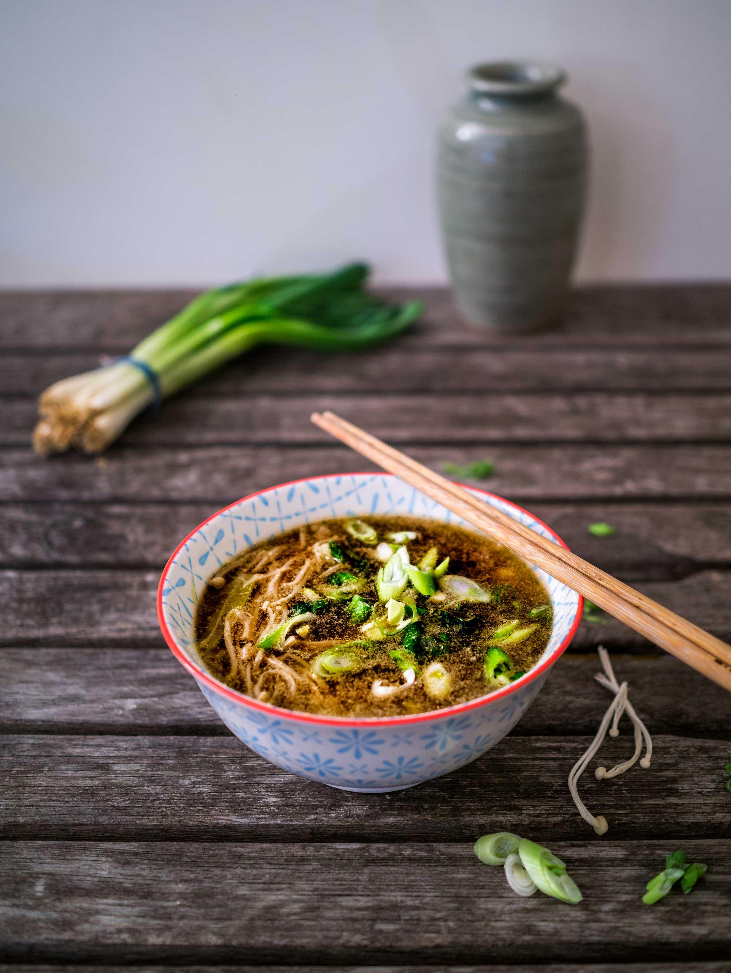 Enoki Mushroom Miso Soup   Discover Delicious   www.discoverdelicious.org   Vegan Food Blog