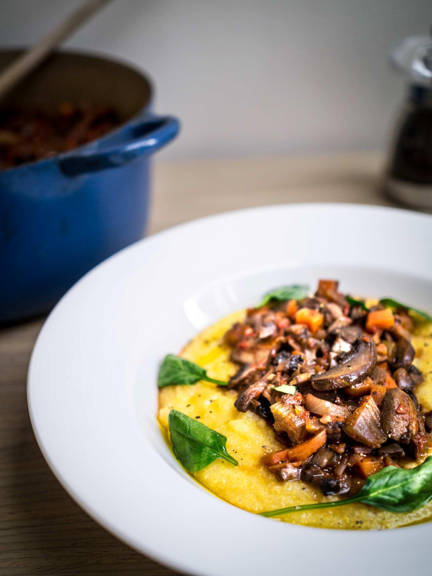 Mushroom Ragu with Creamy Polenta | Discover Delicious | www.discoverdelicious.org | Vegan Food Blog