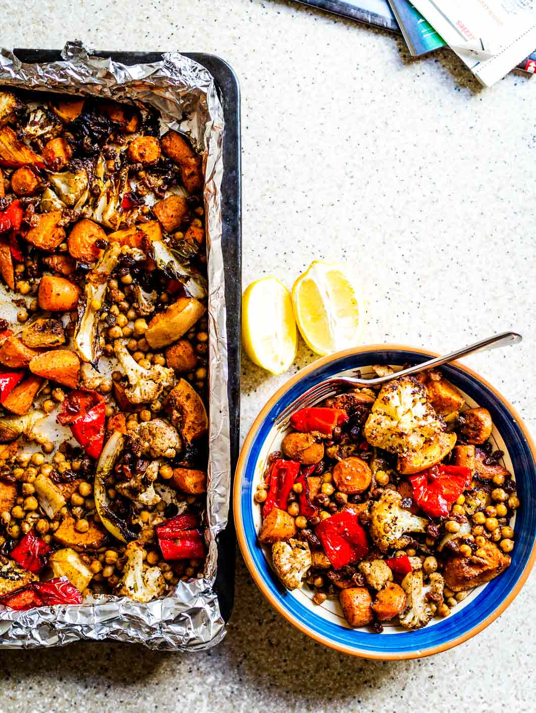 Moroccan Roasted Vegetables w/ Chickpeas + Quick-Pickled Raisins | www.discoverdelicious.org | Vegan Food Blog