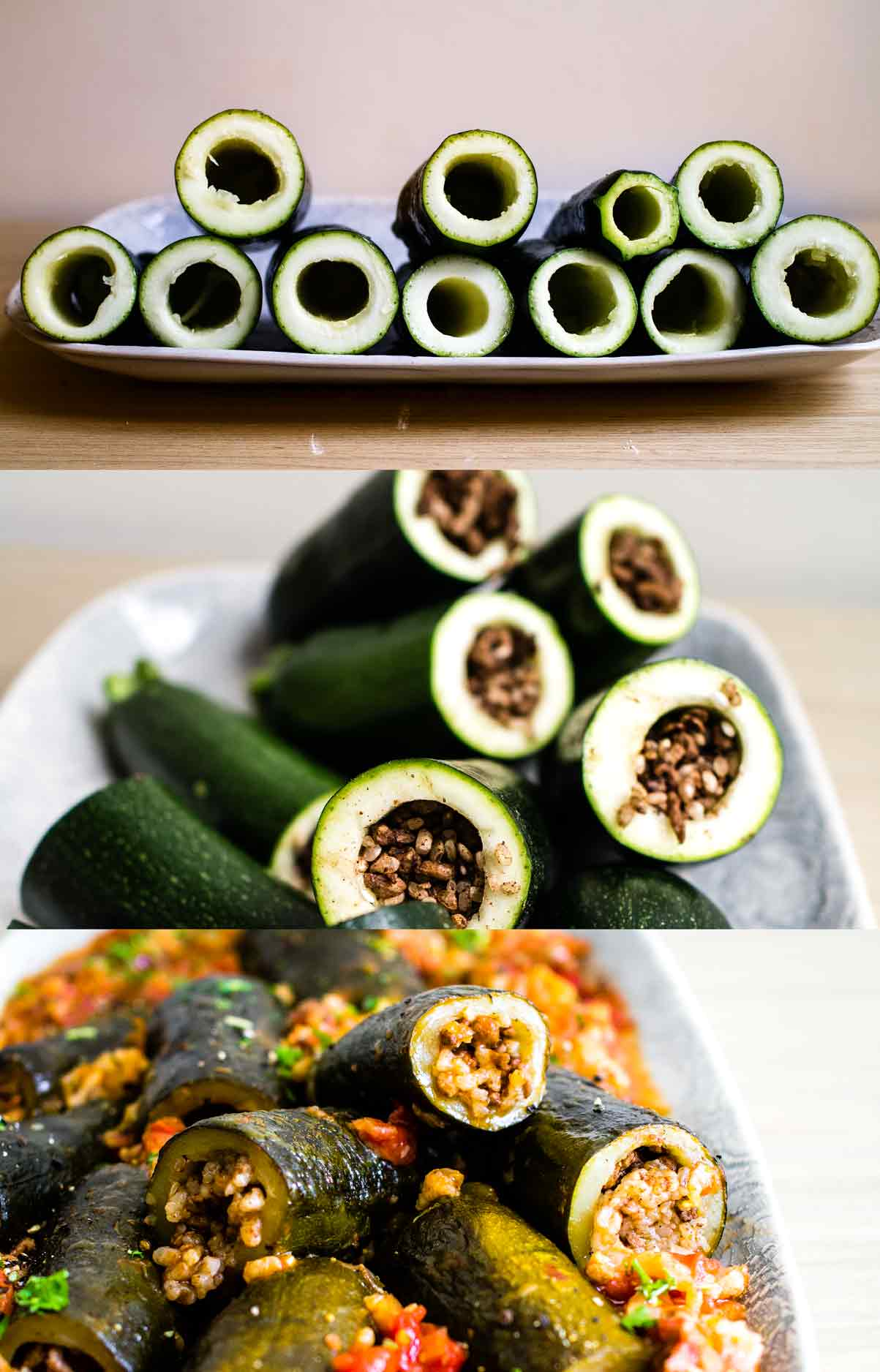 Stuffed Courgettes (zucchini)  Israeli Stuffed Tomatoes and Courgettes   Vegan Recipe   Discover Delicious   www.discoverdelicious.org