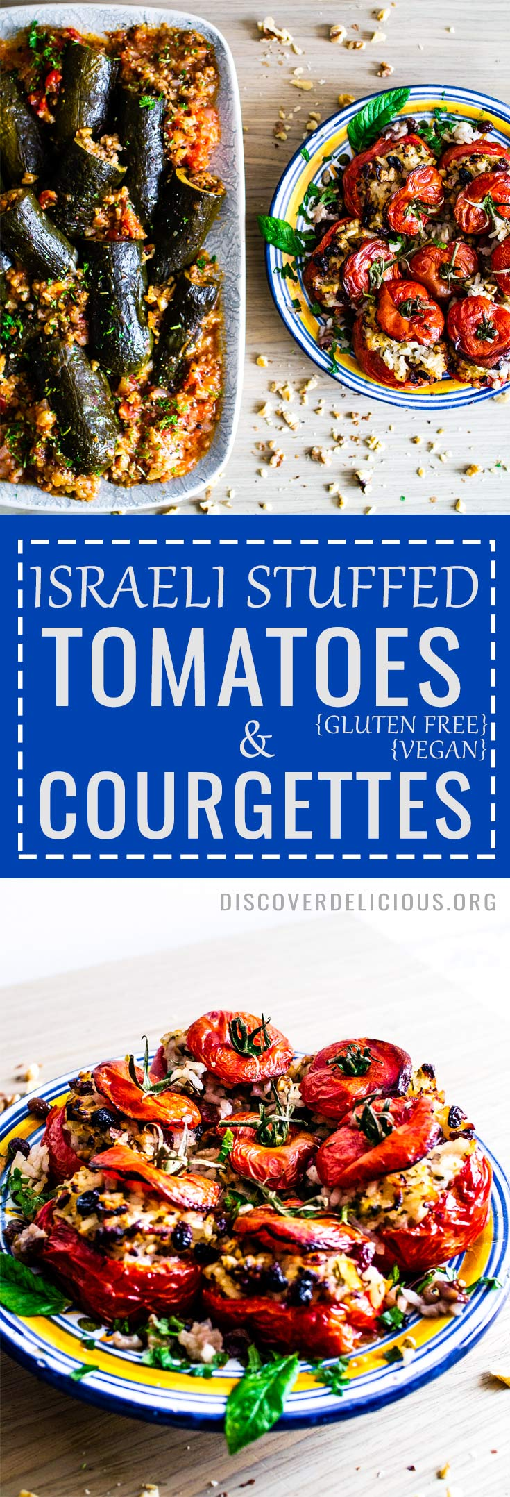 These Israeli stuffed vegetables are so delicious: the tomatoes are filled with a sweet-and-sour mix of rice, walnuts, raisins and herbs while the courgettes have (vegan) mince and warming spices surrounded by a yummy tomato sauce!  #vegan #glutenfree #zucchini #recipe #israeli #healthy #vegetarian