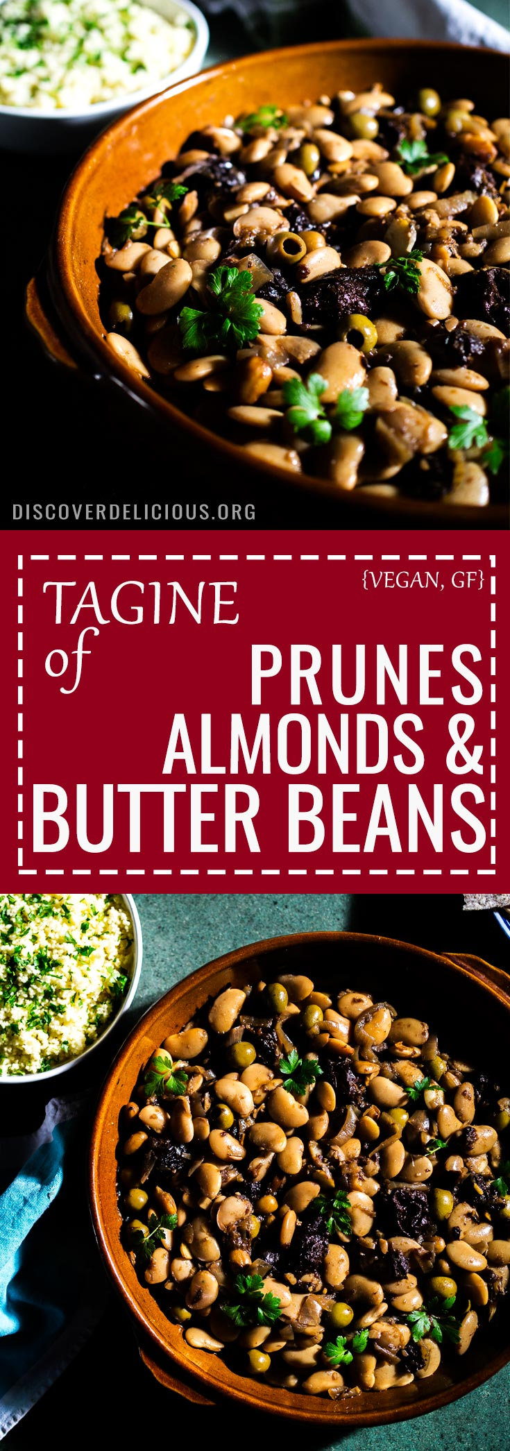 This Tagine of Butter Beans, Almonds and Prunes is so delicious - sweet & sour, filling, healthy and 100% vegan! #moroccan #couscous #gluten #free #recipe #recipes #middle #eastern #vegetarian