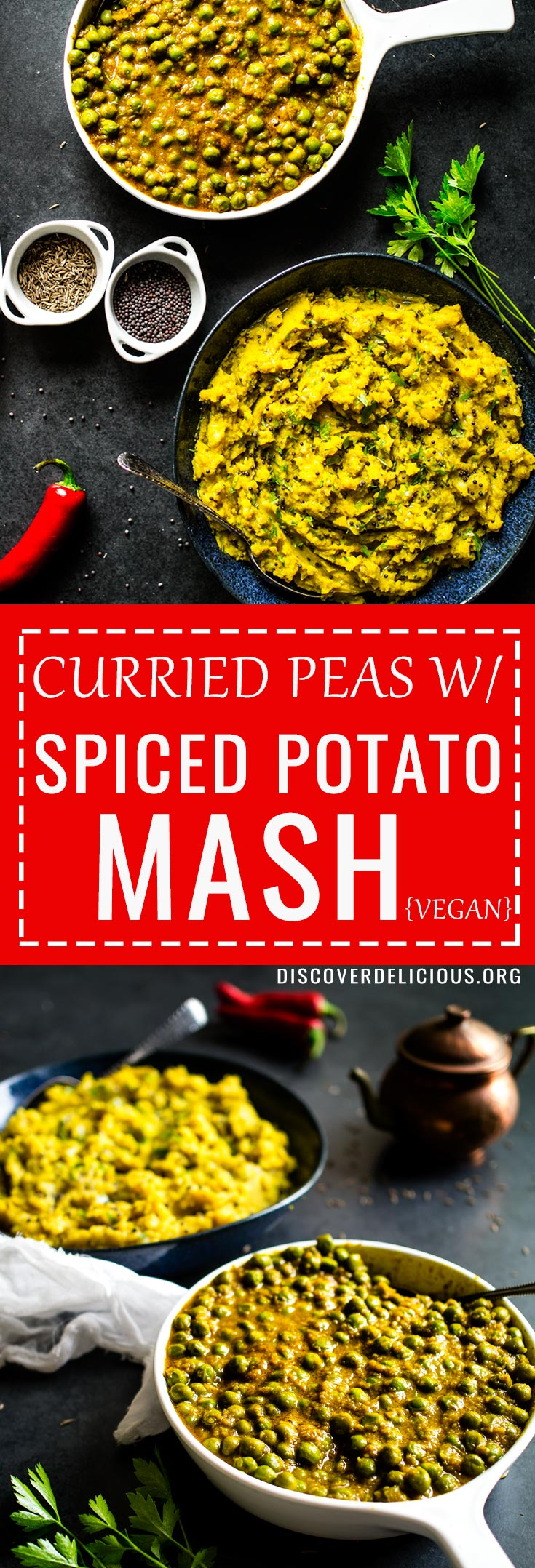 Curried Peas w/ Spiced Potato Mash = Mattar + Aloo Masala! Vegan Indian food at it's finest. Accidentally gluten free too!  #authentic #curry #vegetarian #vegetable #recipes #recipe #sides #spicy #glutenfree