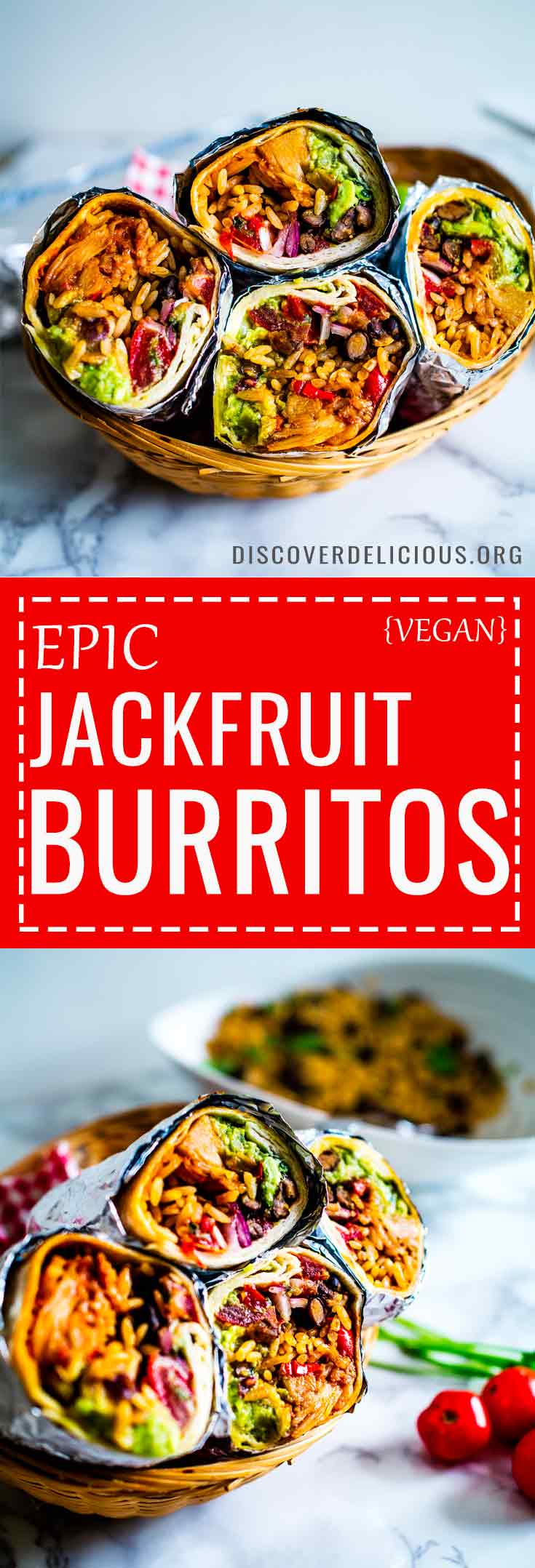 These epic vegan Jackfruit Burritos are filled with mexican rice, guacamole, refried black beans, pico de gallo and bbq jackfruit! Sumptuously satisfying and perfect to make over the weekend or as meal-prep!  #recipes #recipe #burrito #fajita #healthy #lunches #dinners #wrap #sauce #bean #freezer #filling #best #jackfruit #vegan #vegetarian #salsa #mealprep #prep