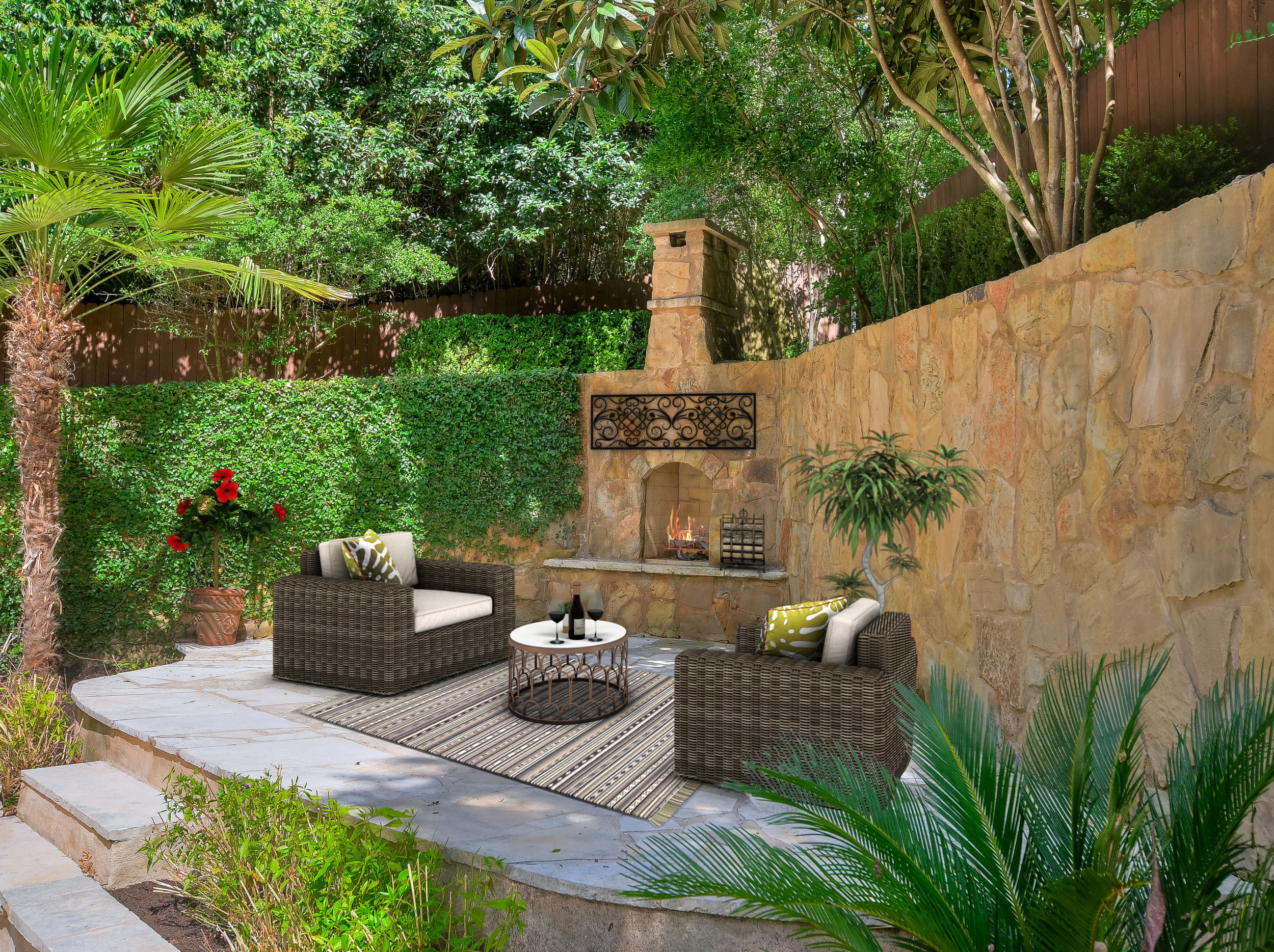 Patio Fireplace Staged