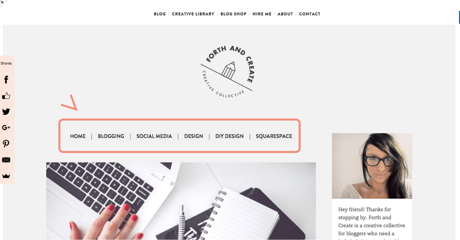 second navigation in squarespace