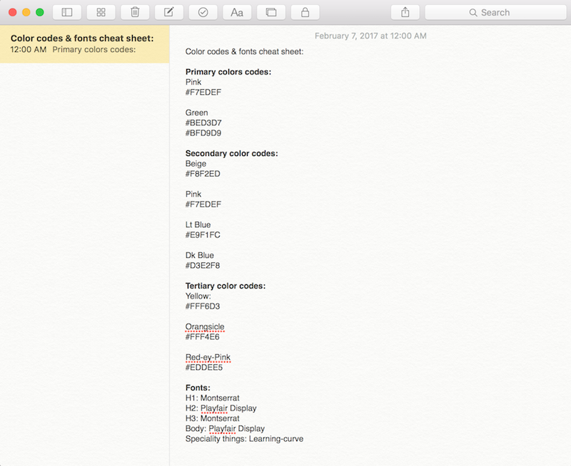 writing color codes & font list as prep for website design.png