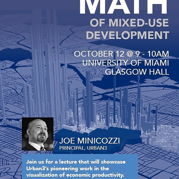 Miami folks, a must-go event: @minicozzijoe of @urban.three at @u_soa, bringing the wisdom to South Florida about financial sustainability and patterns of development!