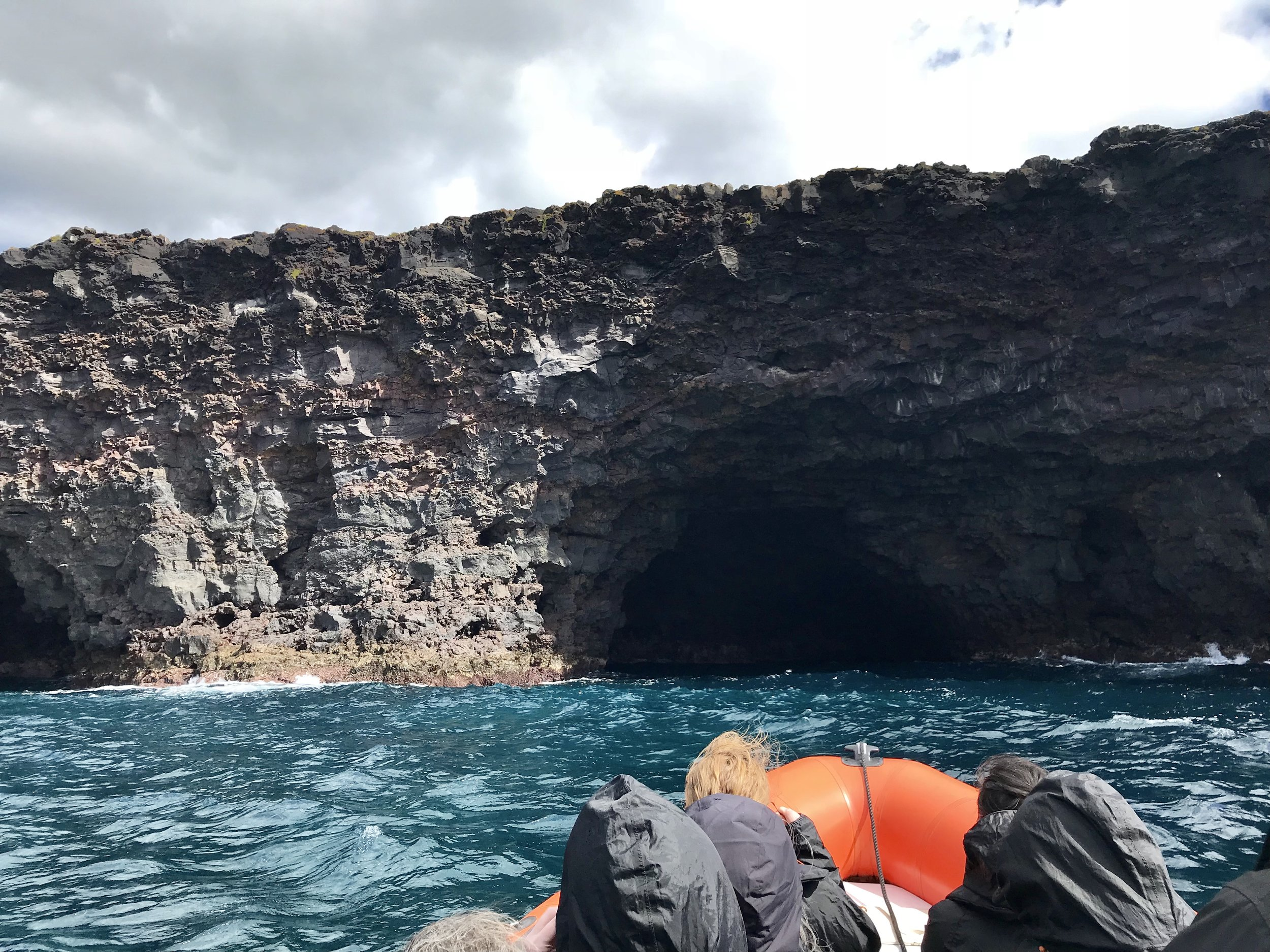 Viewing some lava tubes on our rubbery Zodiac!