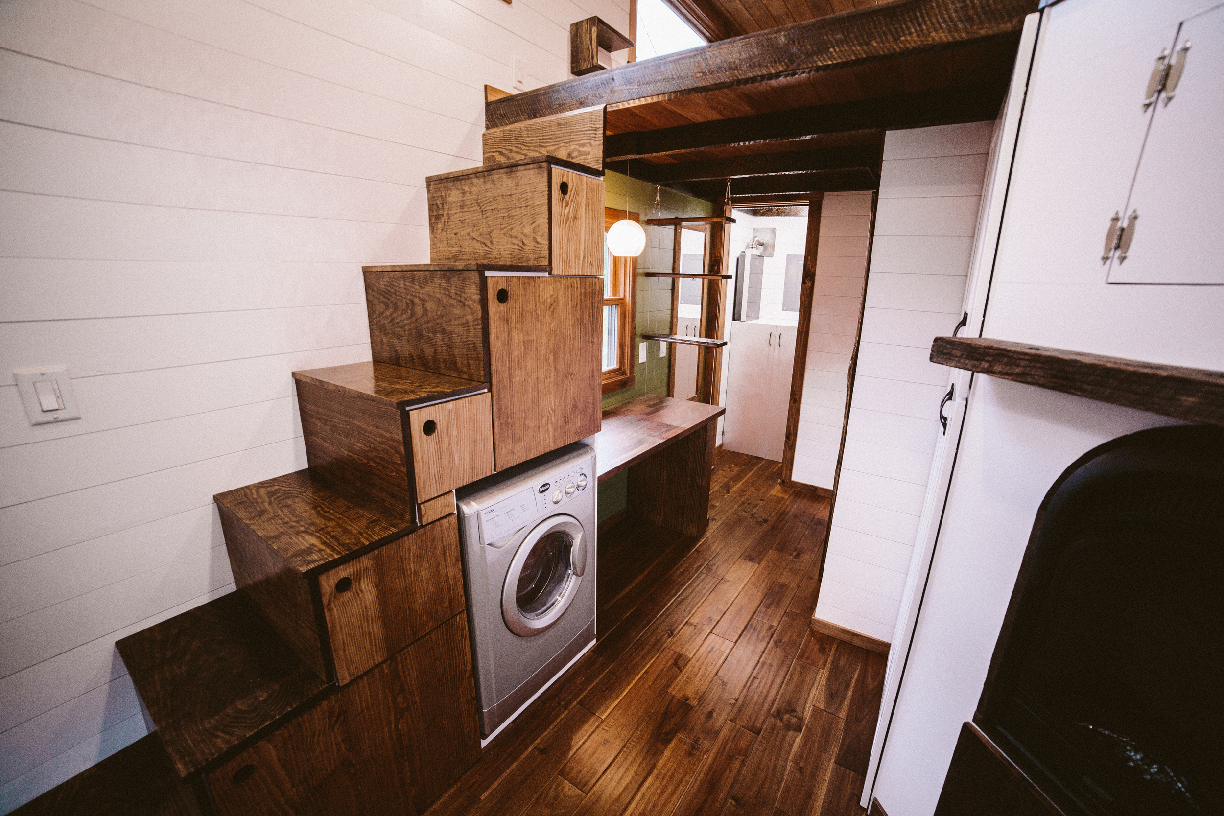 The Mayflower - Built in storage stairs up to master loft, combo washer/dryer, office space