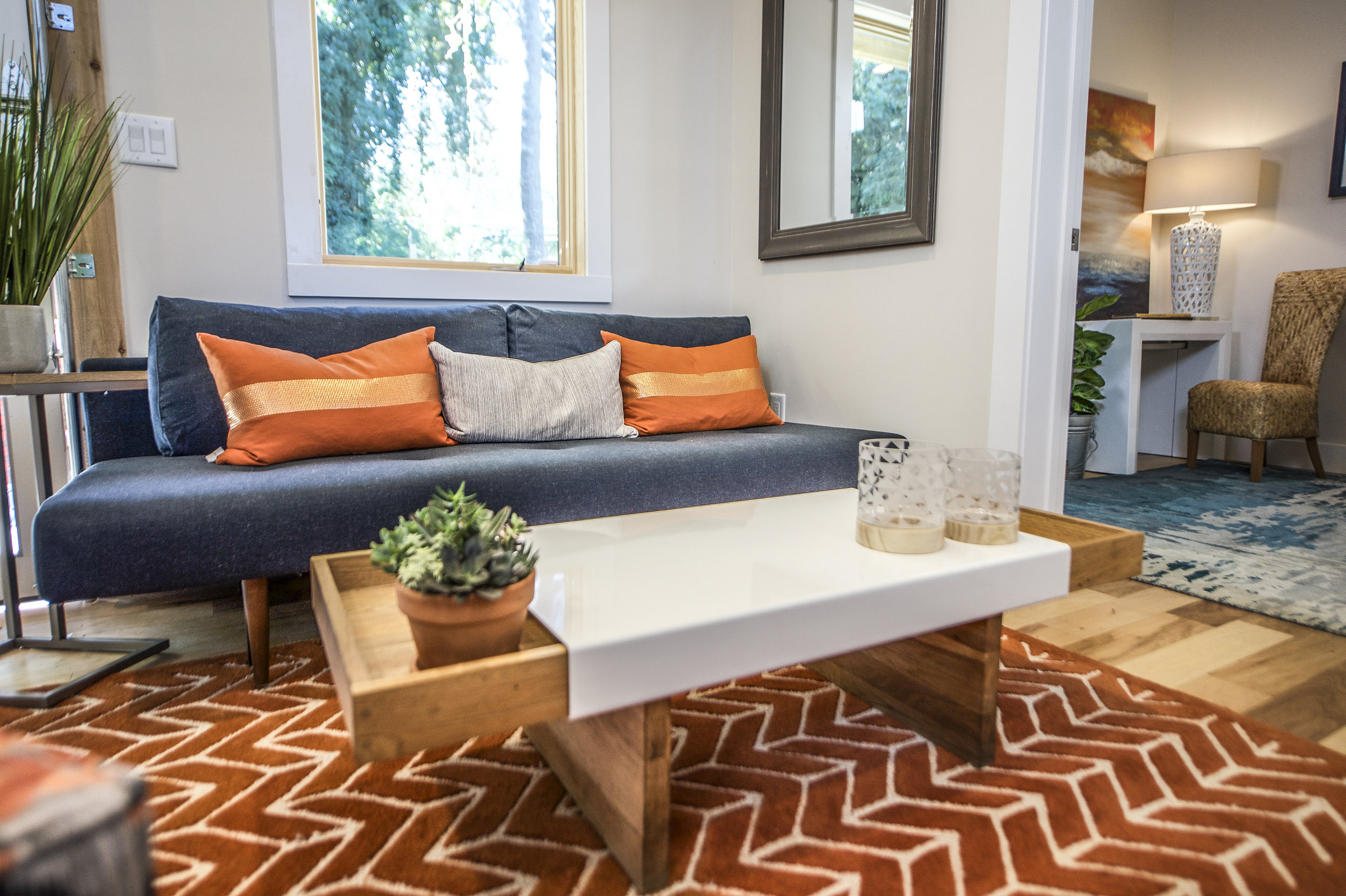 Urban Micro Home by Wind River Tiny Homes - glass garage door by Chattanooga Garage Door, sofa and coffee table by Smart Furniture