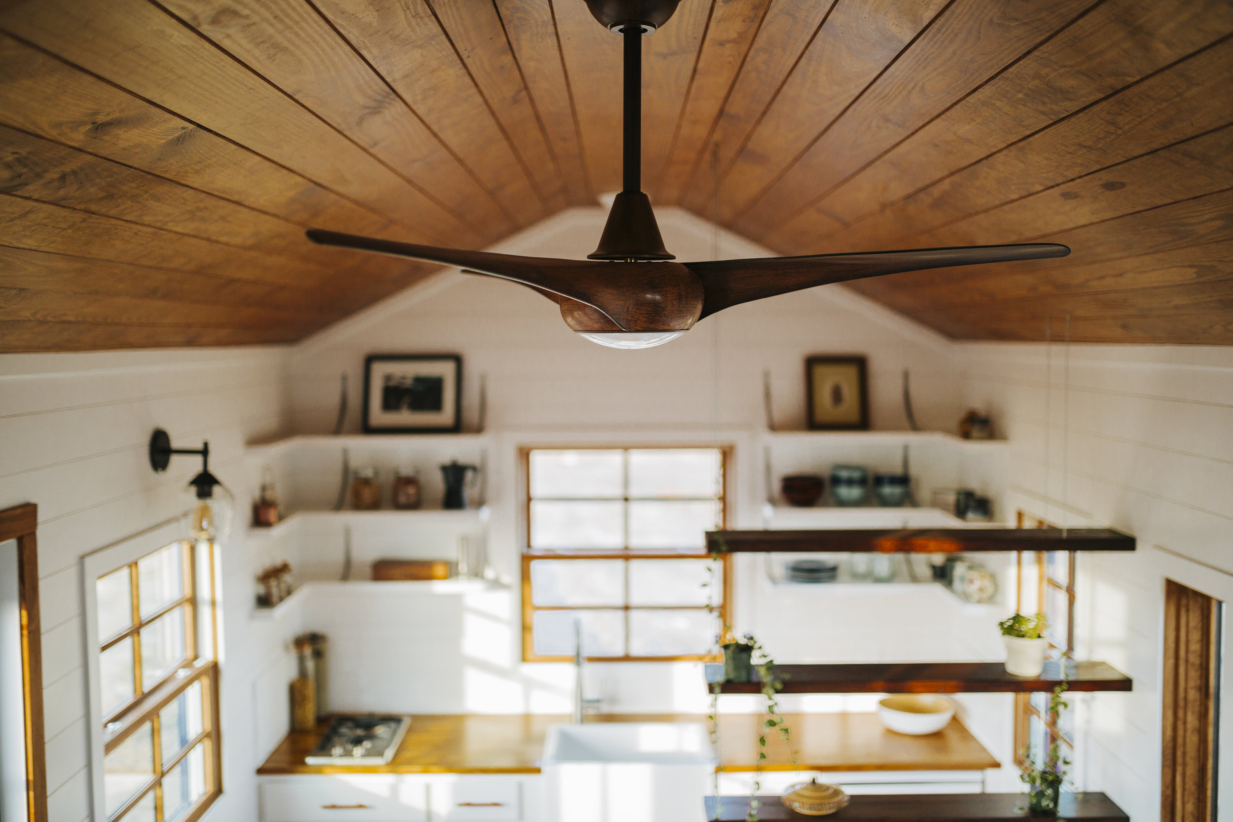 The Monocle by Wind River Tiny Homes - modern ceiling fan, suspended cable shelving