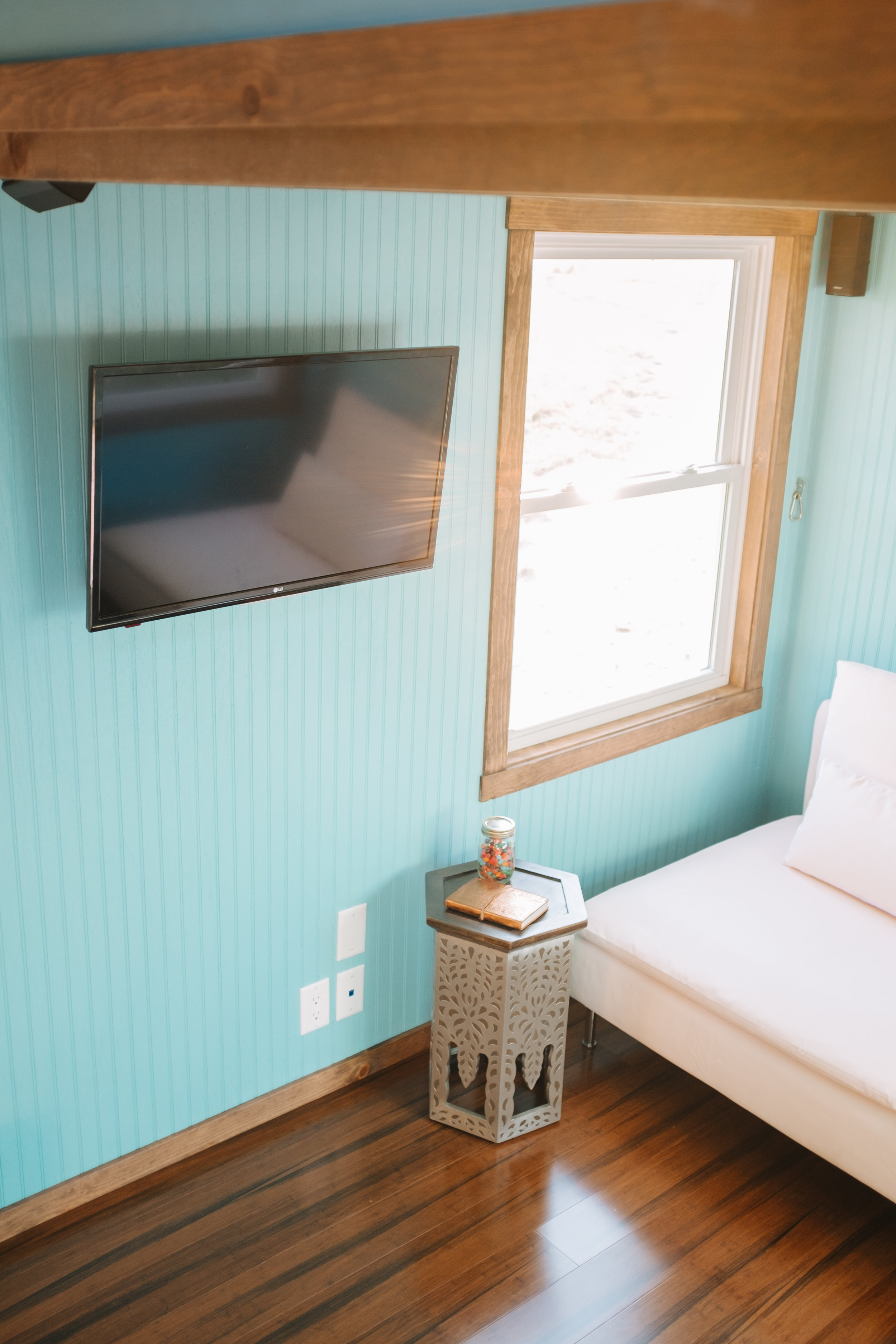 The Big Whimsy by Wind River Tiny Homes - bead board siding, contemporary love seat, BOSE surround sound stystem