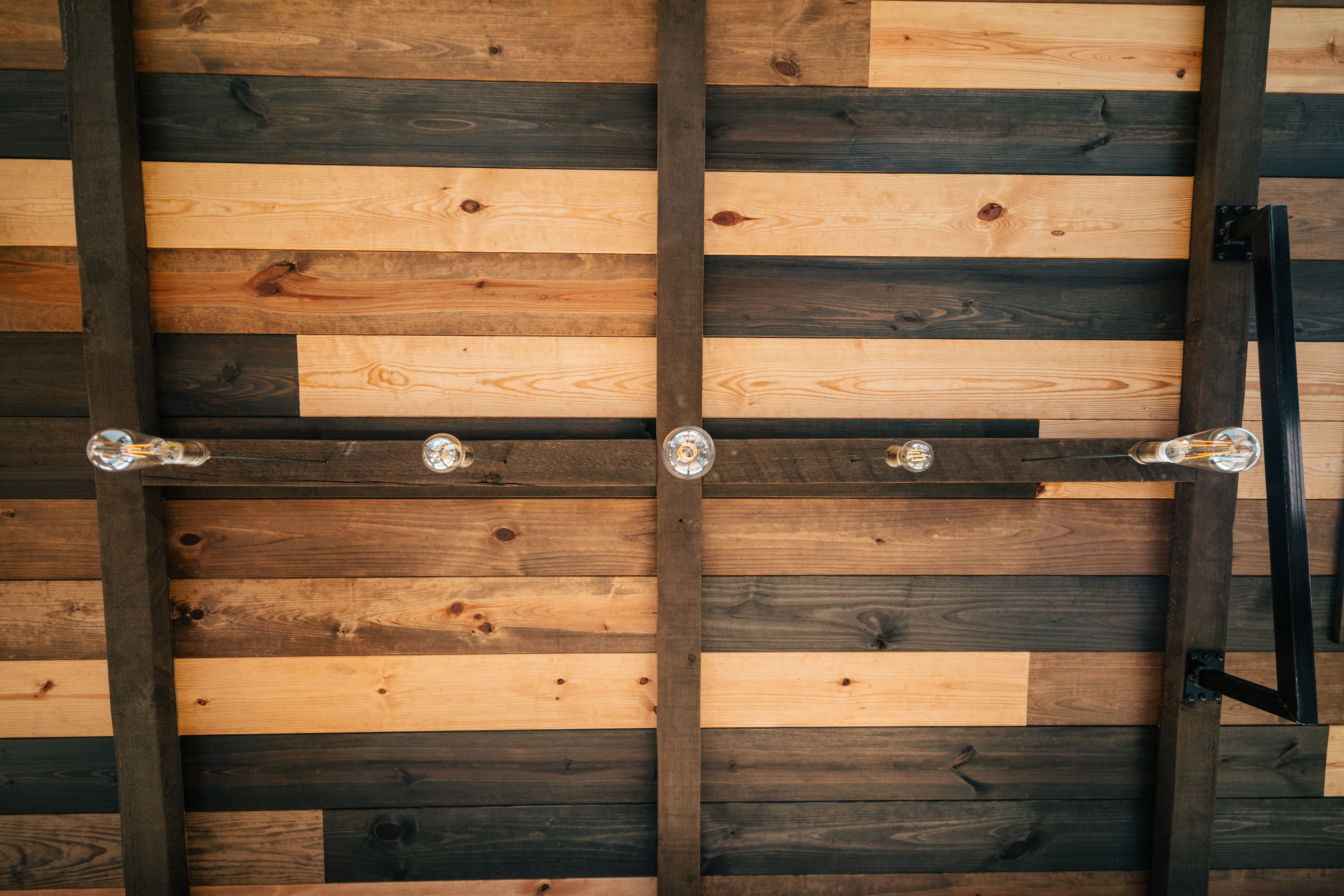 The Silhouette by Wind River Tiny Homes - multi stain tongue & groove ceiling,LED edison bulb light fixture